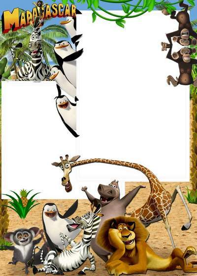 Baby photo frame 2 psd +2 png Holidays with Madagascar free download