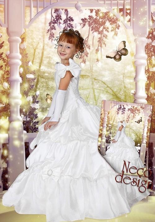 Children's template for girls - A little princess in the fairy garden