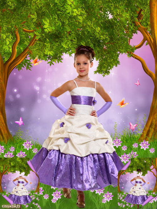 Child's psd template - Girl in a good-looking dress among wonderful colors and butterflies