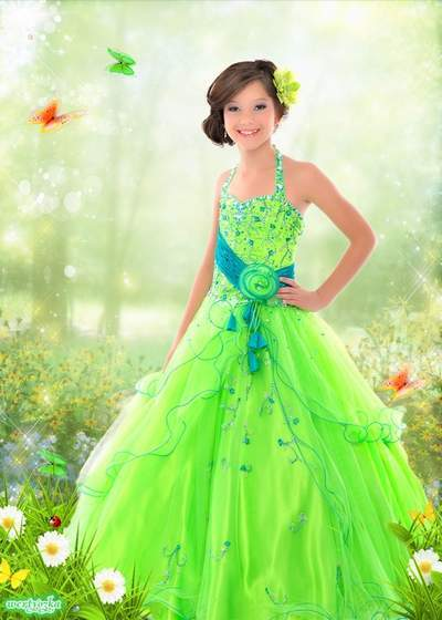 Multi-layered child's psd template - Girl in a brightly green dress among camomiles and butterflies