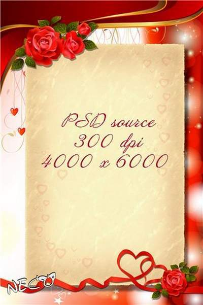 PSD source c red roses - Congratulations