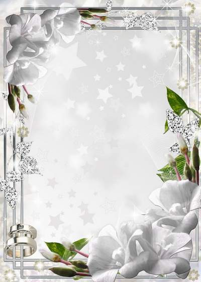 Wedding photo frame with pearls, doves and lilies