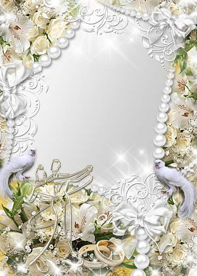 Wedding photo frame with delicate flowers,glitter and pigeons