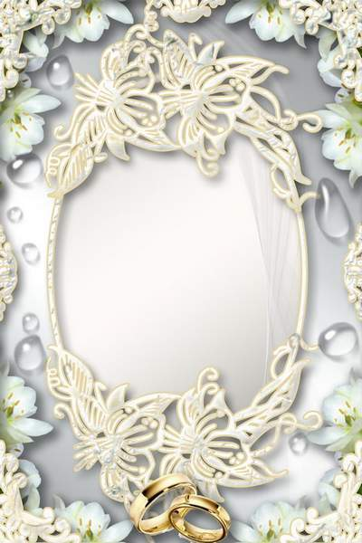 Wedding frame - a bouquet of lilies