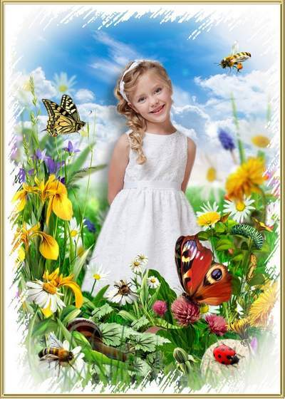 Nature Photo Frame collage free psd with flowers and butterflies free download