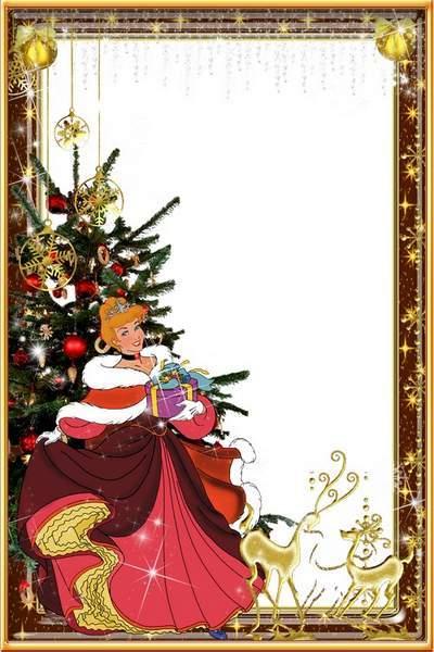 Frame - Christmas with Princess Cinderella. Transparent PNG Frame ...