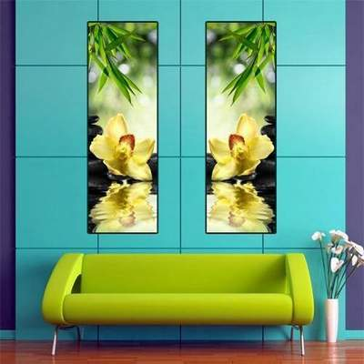 Flower Modular painting Diptych free psd template Orchids over water free download