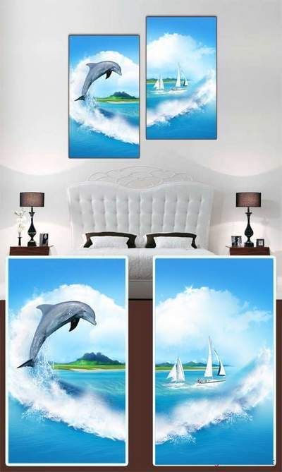 Diptych free psd template - modular picture Dolphin, sea, sail, clouds free download