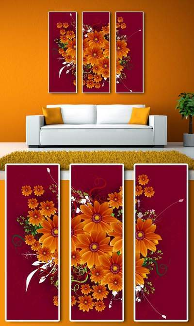 Wild Flowers Modular painting psd - Triptych free psd file free download