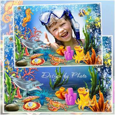 Children free psd frame for photo Funny ocean - free download