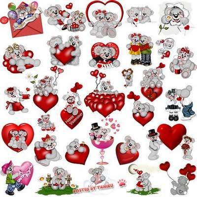 Romantic Clipart PSD with red roses, heart, teddy bear