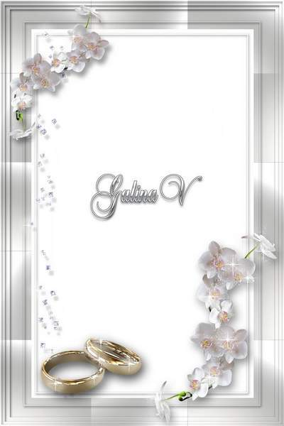Photoshop photo frame psd png Wedding Orchids (2) free download
