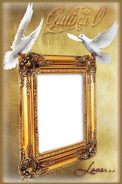Photo Framework Photoshop photo frame psd On Love Wings free download