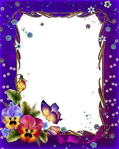 Flower Photoshop photo frame psd Flower imagination with glitter free download