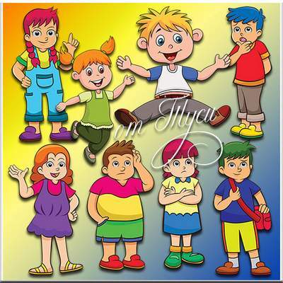 Children's Clipart PSD Funny kids free download
