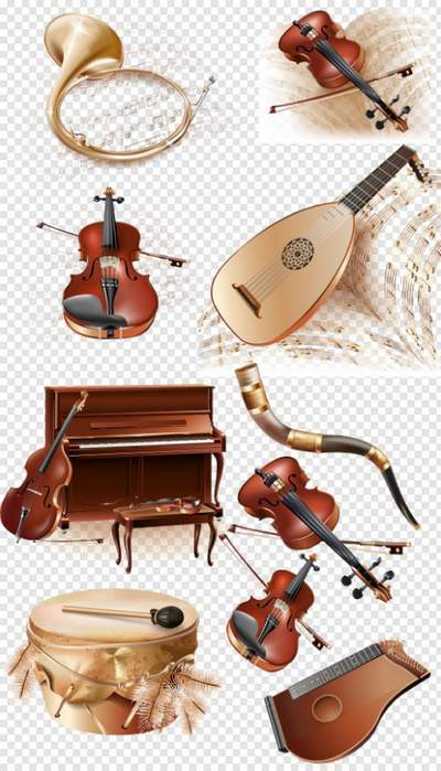 Free PSD Clipart Musical instruments with notes free download