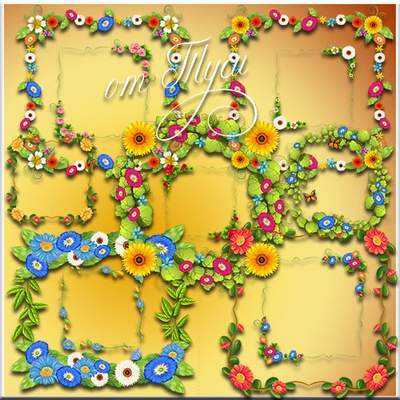 Frame PSD clipart - Flower frames necklines free download