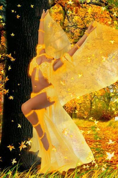 Collection of women's costumes psd for Photoshop Autumn Gold free download