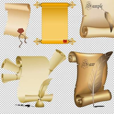 Scrolls Clipart PSD on transparent background free download