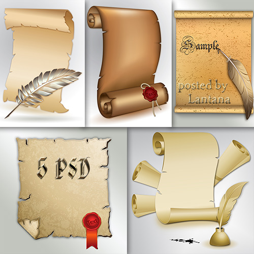 Scrolls Clipart free PSD file free download
