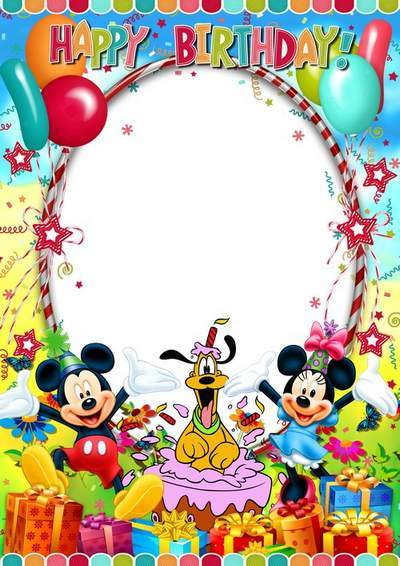 Children photo frame - Happy Birthday with Disney cartoon characters free download