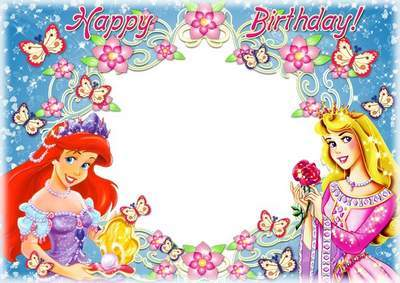 Awesome Photo Frame For Girls Photo   Birthday With Disney Princesses
