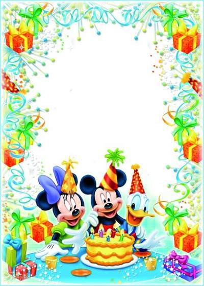 Children frame with Disney cartoon characters - Happy Birthday