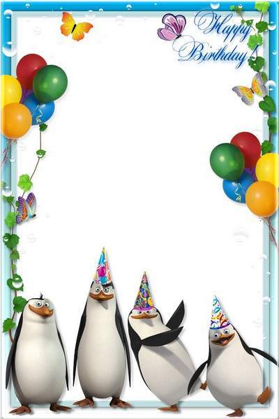 Kid's Photoframe - The penguins of Madagascar congratulated on his birthday free download