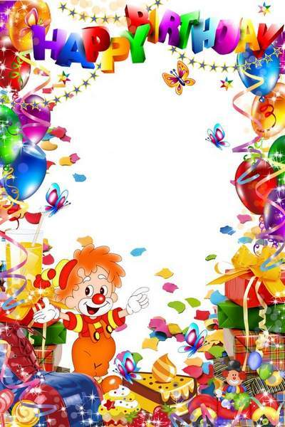 Children's frame with the clown - Happy birthday the Sun, accept gifts free download