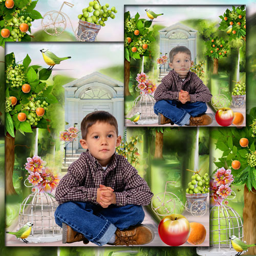 Children`s Template for Photoshop - In the orange garden free download