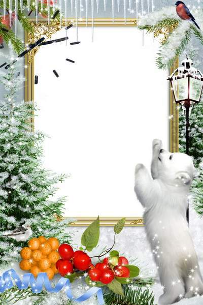 Winter frame for Photoshop - Forest baby animals, free download