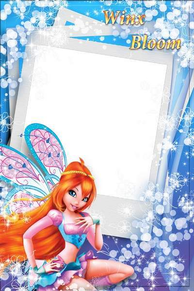 Baby photo frame with witch Winx - bloom, free download