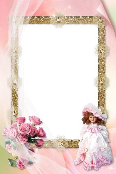 Baby girl photo frame psd My favorite doll free download