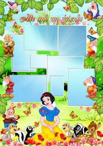 Baby frame with the heroes tale Snow White and the Seven Dwarfs free download