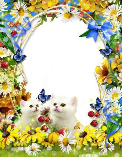 Charming children's frame with cute cat-On the lawn free download