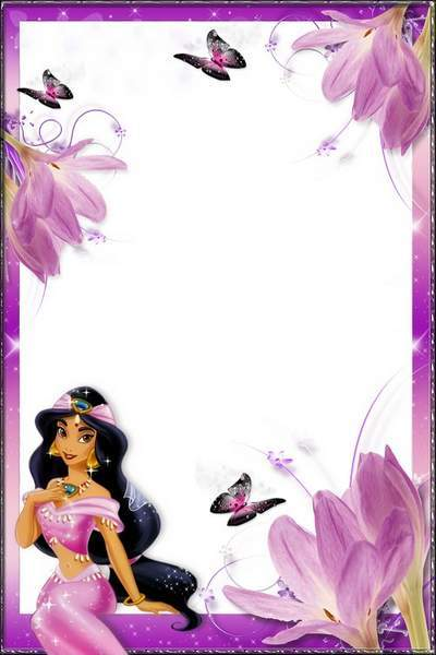 Photoframe for girls - Princess Jasmine, flowers and butterflies free download