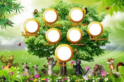 Baby frame vignette - My family tree with heroes of a cartoon film «Over the Hedge»