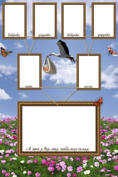 Family frame for Photoshop - Family tree
