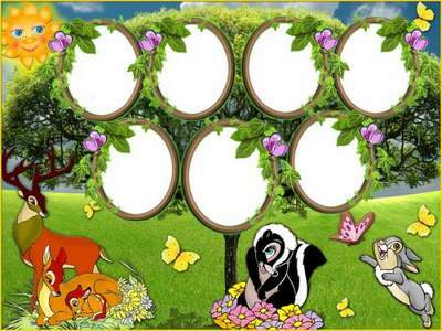 Baby Frame Vignette - Family tree with cartoon Bambi free download