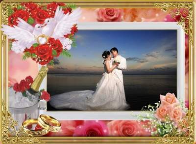 Wedding photo frame - Keys to Happiness
