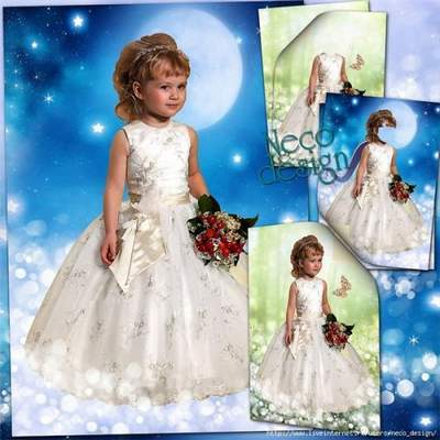 Children's template for a little girl in a white dress with a bouquet - Among the stars