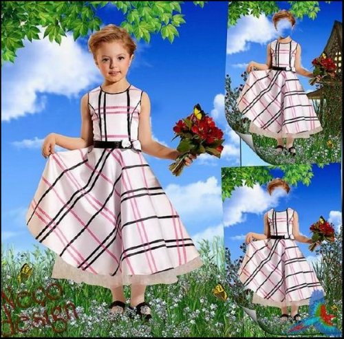 Children's template for a girl with a light dress - A visit with a bouquet