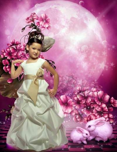 Children's template for Photoshop - Fairy-tale beautiful dress 2