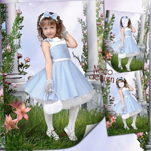 Children's template for girls - Little fashionista in the garden