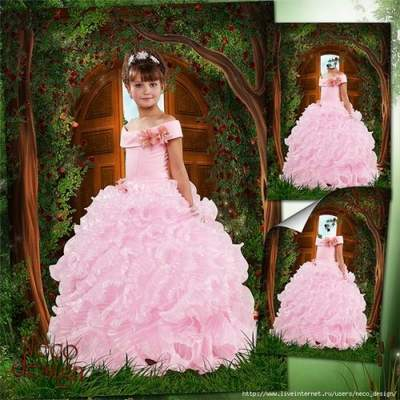 Template for a girl in a pink dress is - Mistress of the forest home