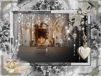 Wedding frame for Photoshop - Two lovers heart
