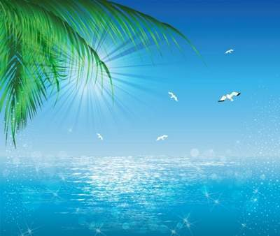 Free psd background Sea, gulls, trees, free download