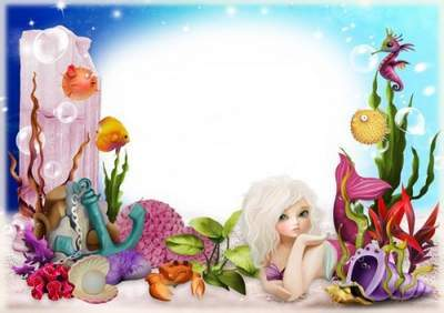 Children photoshop frame free psd template mermaid in the sea free download