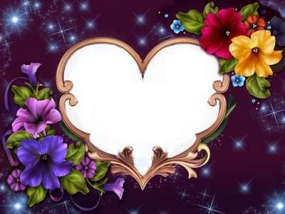 Flower Heart photo frame psd template free download