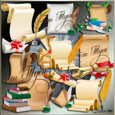 Clipart PSD Antique Scrolls free download